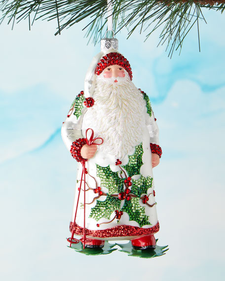 Patricia Breen Santa with Ski Poles Ornament
