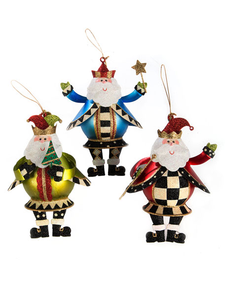 MacKenzie-Childs Jolly St. Nick Ornaments, Set of 3