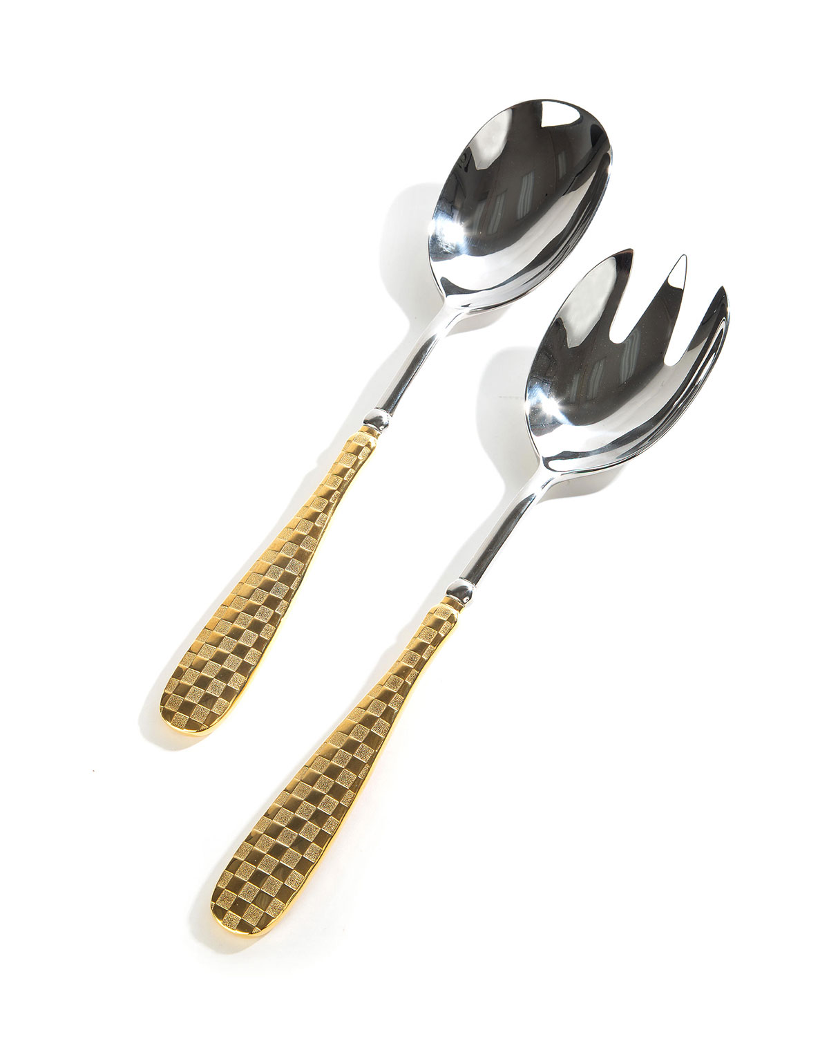 MacKenzie-Childs Check Gold Salad Serving Set