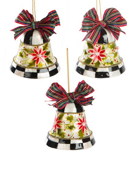MacKenzie-Childs Capiz Check Bell Ornaments, Set of 3