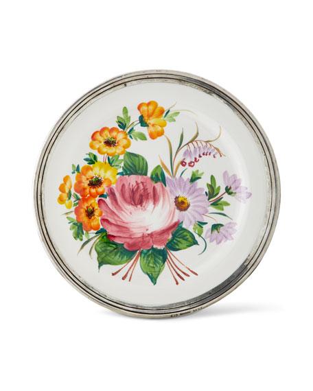 Neiman Marcus Floral Pewter & Ceramic Dinner Plate