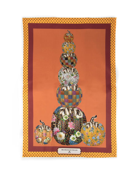 MacKenzie-Childs Stacking Pumpkins Dish Towel