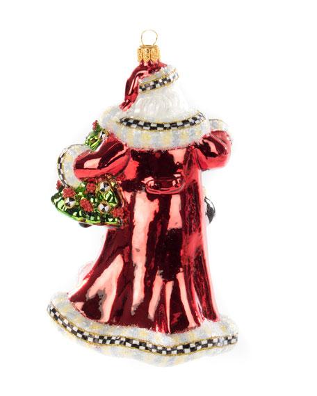 MacKenzie-Childs Tis The Season Santa Glass Ornament