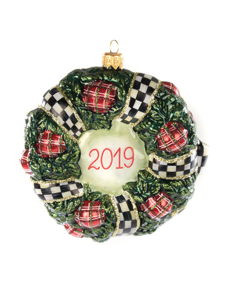 MacKenzie-Childs 2019 Wreath Glass Ornament