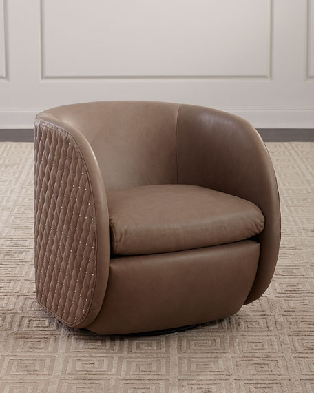 Bernhardt Lillian Leather Swivel Chair