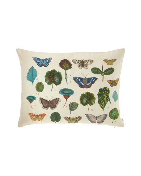 John Derian A Leaf and Butterfly Study Linen Pillow