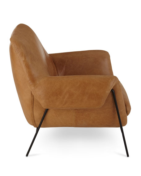 Hooker Furniture Derby Leather Metal Frame Club Chair
