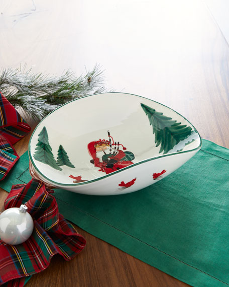 Vietri Old St. Nick Bagpipes Oval Bowl
