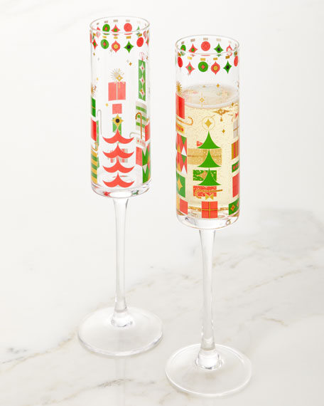 Neiman Marcus 2019 Crazy Good Cheer Champagne Flutes, Set of 4