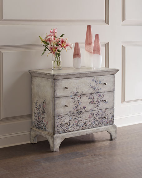 Hooker Furniture Hand-Painted Floral 3-Drawer Chest