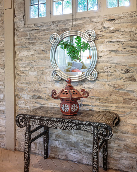 Mirror Image Distressed Rounded Mirror