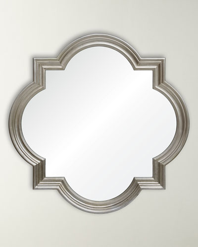 Distressed Silver Leaf Quatrefoil Mirror