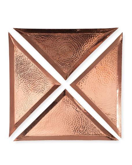 Sertodo Copper Small Triangle Trays, Set of 4