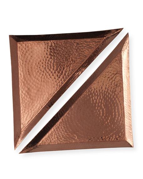 Sertodo Copper Large Triangle Trays, Set of 2