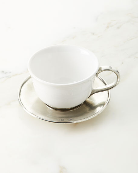 Neiman Marcus Ceramic & Pewter Tea Cup with Saucer & Spoon