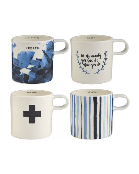Rae Dunn Indigo Dreams Short Mugs, Set of 4