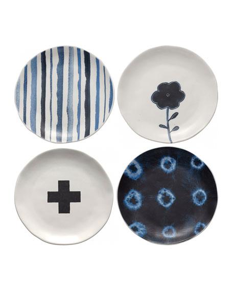 Rae Dunn Indigo Dreams Plates, Set of 4