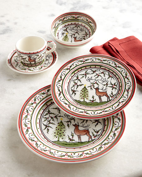 Keramos Nazari Christmas Pavoes 20-Piece Dinnerware Set