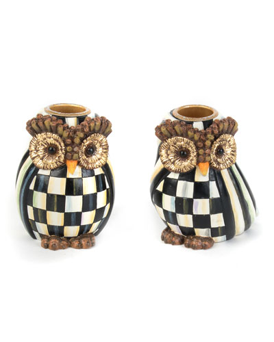 Owl Candlestick Holders, Set of 2