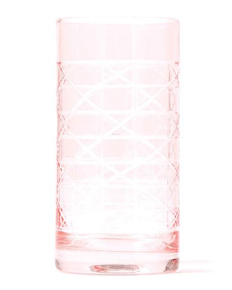 8 Oak Lane Pink Cane Highball Glass