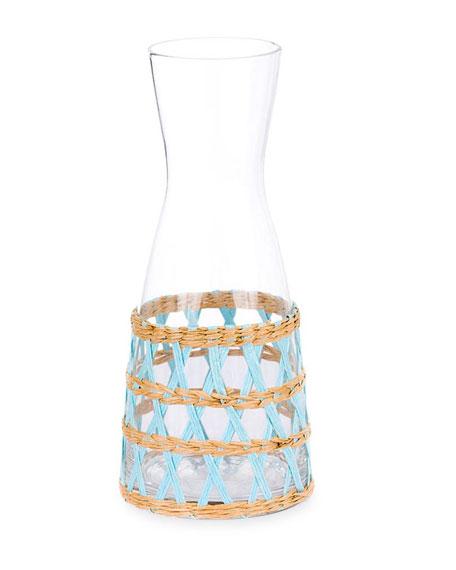 Amanda Lindroth Light Blue Seagrass Wrapped Carafe