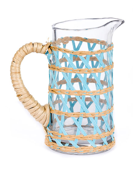 Amanda Lindroth Small Light Blue Seagrass Wrapped Pitcher