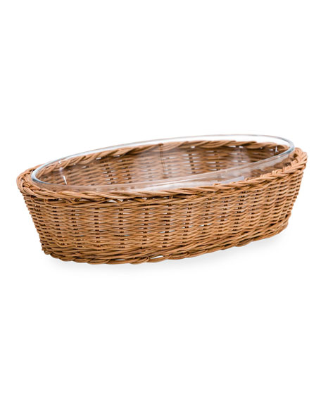 Amanda Lindroth Oval Natural Rattan Server with Glass Insert, Small