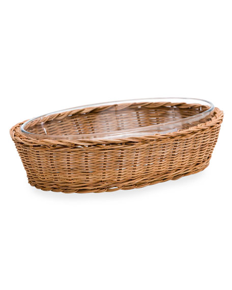 Amanda Lindroth Oval Natural Rattan Server with Glass Insert, Medium