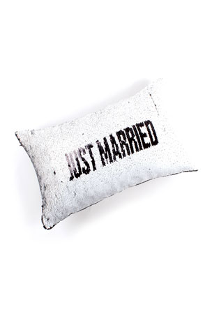 8 Oak Lane Just Married/The Honeymoons Over Flip Sequin Lumbar Pillow