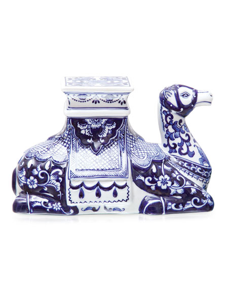 8 Oak Lane Blue Floral Camel Figurine
