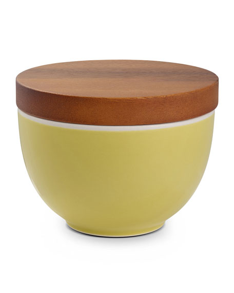 Nambe Prism Candle Bowl with Lid, Citron