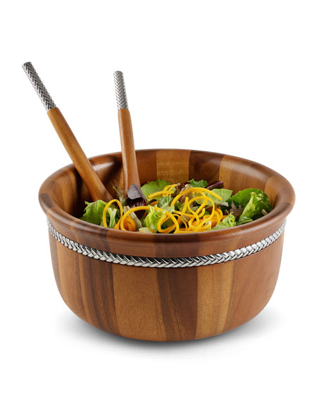 Nambe Round Salad Bowl with Servers
