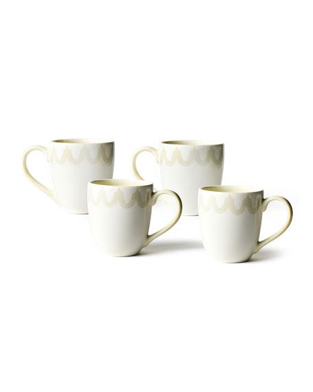 Coton Colors Arabesque Trim Mugs, Set of 4