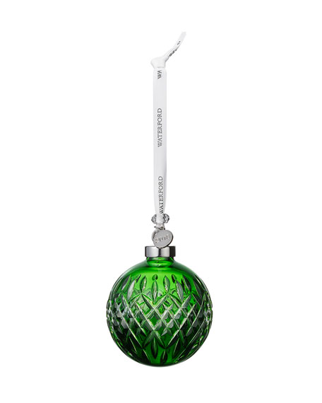 Waterford Crystal Faceted Ball Ornament, Emerald