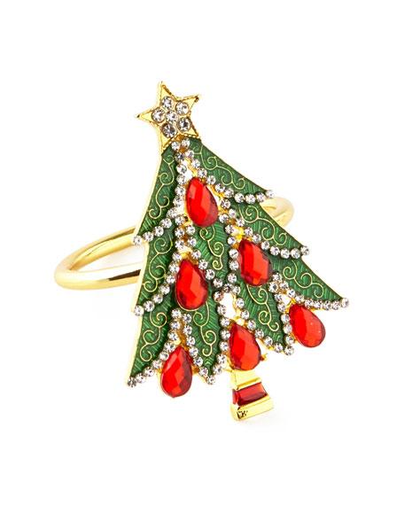 C & F Enterprises Jeweled Christmas Tree Napkin Rings, Set of 4