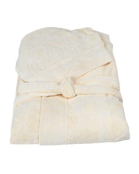 Roberto Cavalli Jerapah Italian Hooded Bathrobe, Ivory