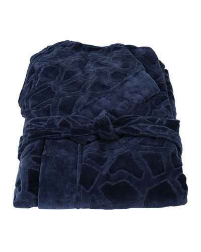 Jerapah Italian Hooded Bathrobe  Blue