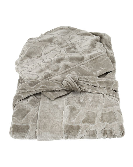 Roberto Cavalli Jerapah Italian Hooded Bathrobe, Gray