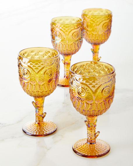 Godinger Owl Goblets, Set of 4