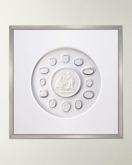 WJC Design Framed Silver Leaf Intaglio