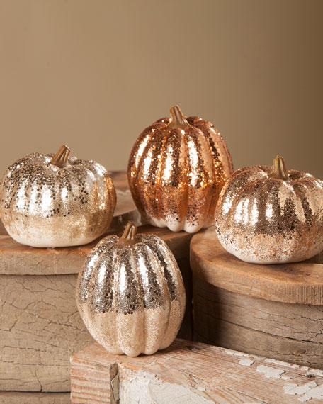 Bethany Lowe Elegant Glittered Pumpkins, Set of 4