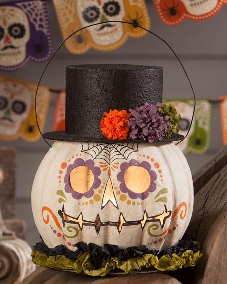 Bethany Lowe Day of the Dead Pumpkin Bucket