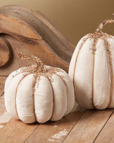 White Velvet Pumpkins  Set of 2