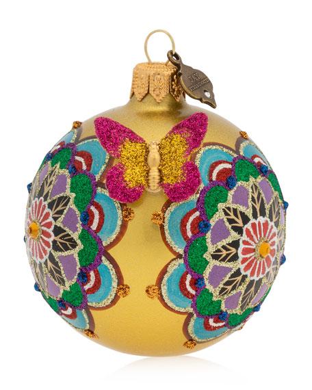 "Jay Strongwater Mandala 3"" Glass Ball Christmas Ornament"
