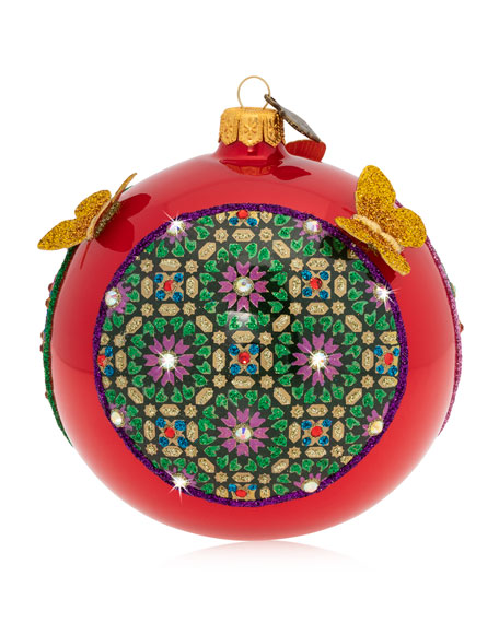 """Jay Strongwater Pattern And Butterfly 4"""" Glass Christmas Ornament"""