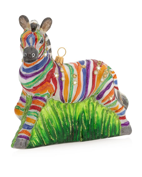 Jay Strongwater Rainbow Zebra Glass Christmas Ornament