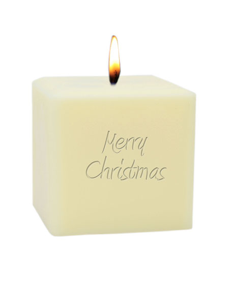 """Carved Solutions 3"""" Eco-Luxury Merry Christmas Soy Candle"""