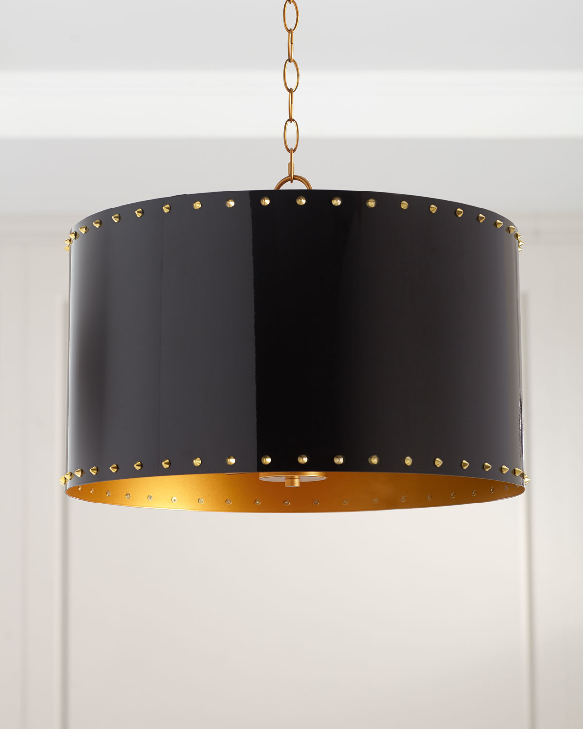 Couture Lamps Metal Drum Studded Pendant, 20""