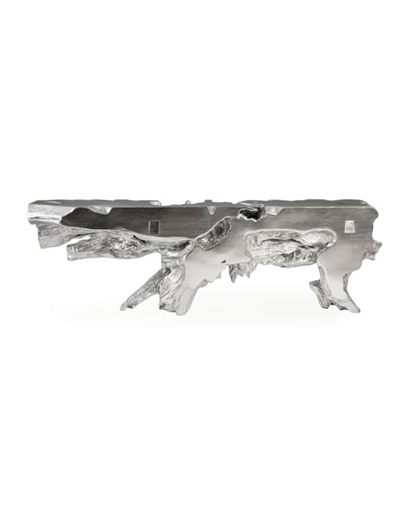 The Phillips Collection Large Freeform Silver Leaf Console Table