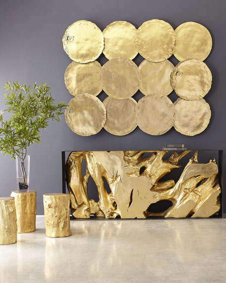 The Phillips Collection Cast Root Console Table, Gold